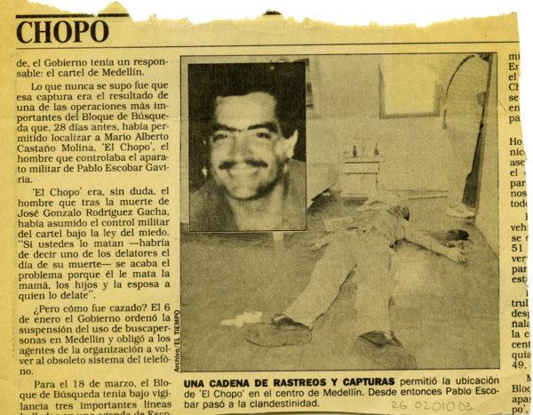 """Muerte del """"Chopo"""" jefe militar del Cartel de Medellin - Pablo Escobar Gaviria"""